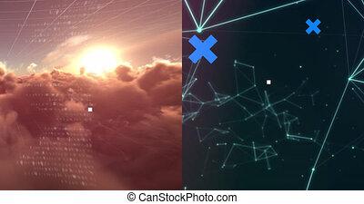 op, hersenen, hemel, netwerk, animatie, kruisen, aansluitingen, blauwe , black , verwerking, data