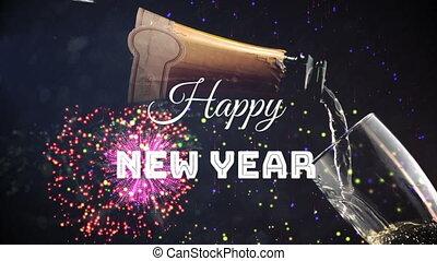 op, jaar, display, champagne, nieuw, vuurwerk, vrolijke , geschreven