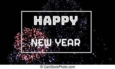 op, jaar, display, nieuw, vuurwerk, vrolijke , geschreven