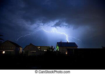 op, lightning, hemel, bewolkt, dorp