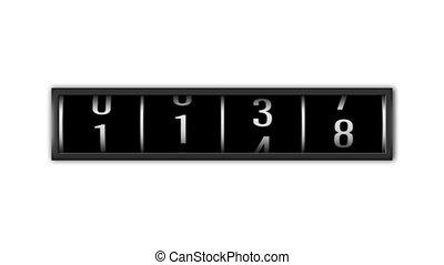 op, loopable, getallen, achtergrond, witte , telling