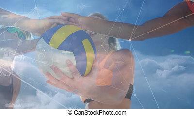 op, mensen, spelend, netten, aansluitingen, animatie, volleybal