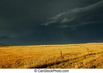 op, onheilspellend, prairie, storm