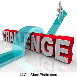 op, springt, uitdaging, succes, bereiken