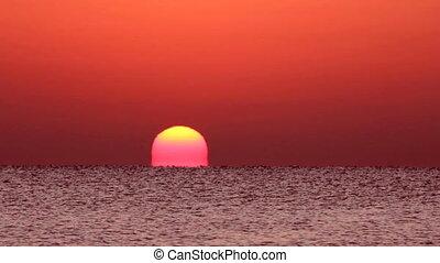 op, timelapse, -, zonopkomst, zee