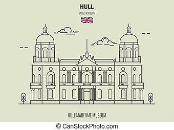 op, uk., maritiem museum, oriëntatiepunt, pictogram, scheepsromp, kingston, scheepsromp