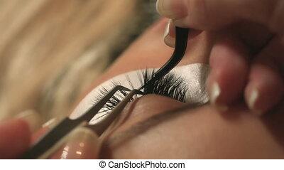 op, vrouw oog, eyelashes., ooghaar, extension., zweepslagen, lang, focus., geselecteerde, afsluiten