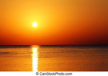 op, zee, landscape, zonopkomst