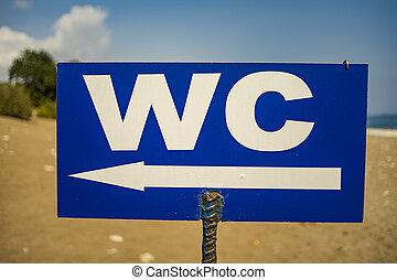 op, zomer, day., indicator, richting, toilet, aanzicht, afsluiten, strand., zonnig