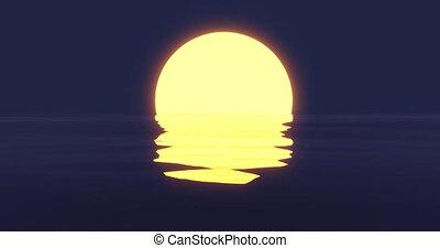 op, zon, vatting, oceaan