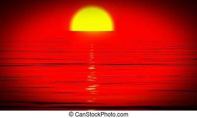 op, zonsondergang wereldzee