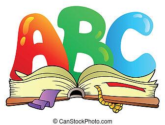 open, alfabet, brieven, boek, spotprent