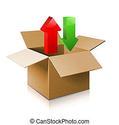 open, karton, box., icon., model, doosje, 3d