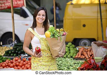 open, market., shoppen , vrouw, straat