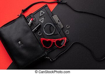 open, plat, zak, achtergrond, accessoires, aanzicht, bovenzijde, rood, dubbel, black , leggen