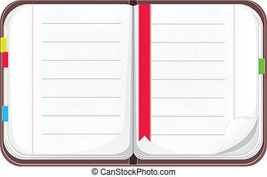open, spotprent, vector, aantekenboekje