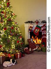openhaard, boompje, kerstmis