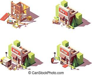 opening, vector, winkel, set, pictogram