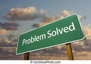 opgeloste, probleem, groene, wegaanduiding