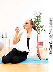 opleiding, drank, baddoek, na, water, fitness, meisje