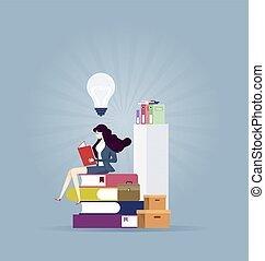 opleiding, idee, -, lezende , concept, vinden, businesswoman, nieuw, boek