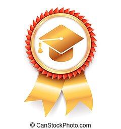 opleiding, medaille, toewijzen, pictogram