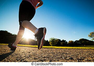 opleiding, vrouw, passen, jonge, jogging, rennende