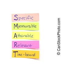 opmerkingen, doelen, smart, kleverig