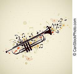 opmerkingen, trompet, abstract