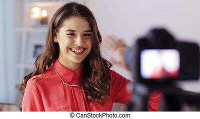 opname, fototoestel, vrouw, video, thuis