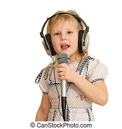 opname, het zingen, meisje, studio
