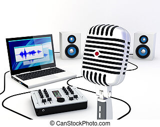 opname, thuis, studio, uitrusting