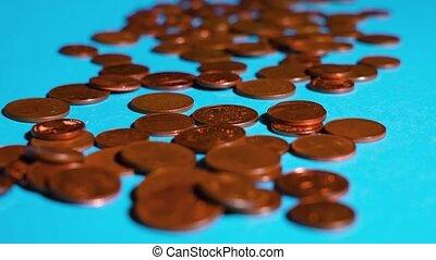 oppervlakte, blauwe , muntjes, cent, weinig