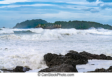 opstellen, golven, maunganui, storm, dramatisch