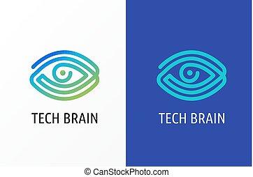 optometrie, concept, oog, technologie, moderne, -, vernieuwend, logo, biotechnologie, pictogram