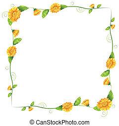 oranje bloemen, grens