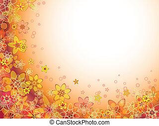 oranje kleur, abstract, bloempatroon