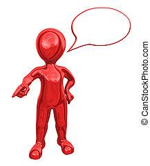 order., toespraak, man, geeft, bel, rood, 3d