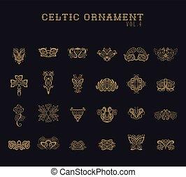 ornament, set, verzameling, keltisch
