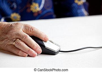oud, computer muis, hand