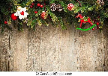 oud, houten, op, versiering, achtergrond, kerstmis