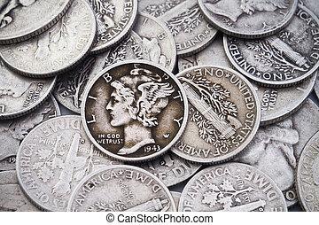 oud, &, kwarten, stapel, zilver, dubbeltjes