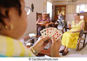 oud, plezier, spel, hebben, hospice, speelkaart, vrouwen