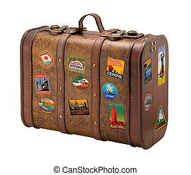 oud, reizen, kosteloos, koffer, royaly, stickers