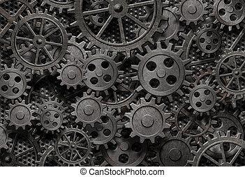 oud, velen, metaal, machine, roestige , onderdelen, toestellen, of