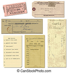 oud, voorwerpen, ouderwetse , opmerkingen, -, brieven, papier, kaartjes, vector, ontwerp, plakboek
