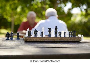 oude mensen, park, twee, schaakspel, actief, gepensioneerd, vrienden, spelend