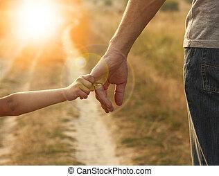 ouder, hand, kleine, houden, kind
