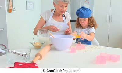 oudere vrouw, bakken