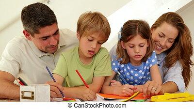 ouders, kinderen, kleuren, vrolijke